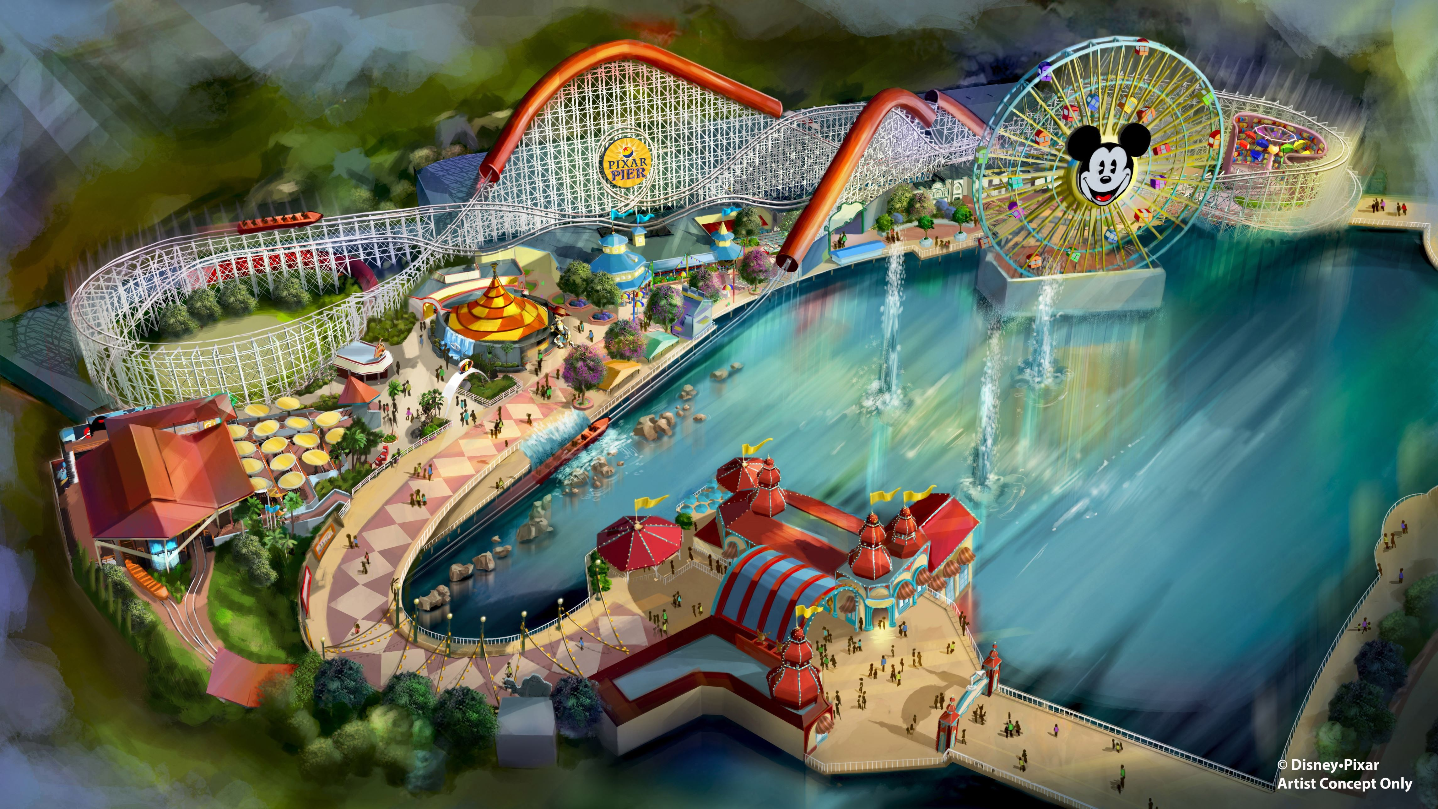 """Slide 12 of 15: PIXAR PIER (ANAHEIM, Calif.) –Summer 2018 will bring a transformed land when Pixar Pier opens for guests to experience at Disney California Adventure park, featuring the new Incredicoaster inspired by Disney•Pixar's """"The Incredibles."""" This artist concept illustrates the four new neighborhoods that will represent beloved Pixar stories and the newly themed attractions that will be found throughout the permanent land of Pixar Pier. (Disney•Pixar)"""