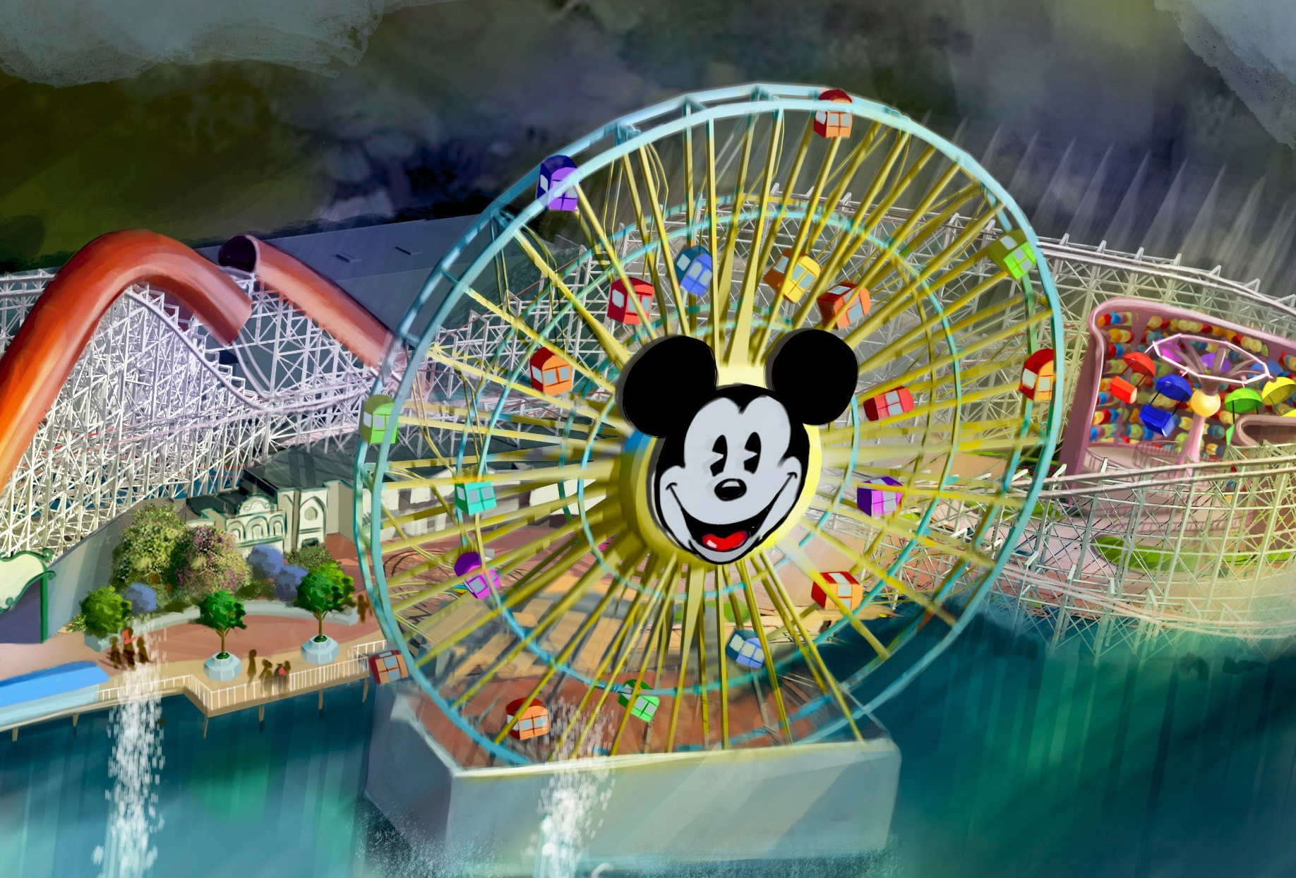 """Slide 13 of 15: PIXAR PIER (ANAHEIM, Calif.) –Summer 2018 will bring a transformed land when Pixar Pier opens for guests to experience at Disney California Adventure park, featuring the new Incredicoaster inspired by Disney•Pixar's """"The Incredibles."""" This artist concept illustrates the four new neighborhoods that will represent beloved Pixar stories and the newly themed attractions that will be found throughout the permanent land of Pixar Pier. (Disney•Pixar)"""