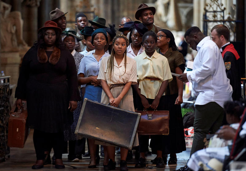 Performers from the HEbE Foundation charity perform during a Service of Thanksgiving to mark the 70th anniversary of the landing of the Windrush, at Westminster Abbey, London, Britain, June 22, 2018. Niklas Halle'n/Pool via REUTERS