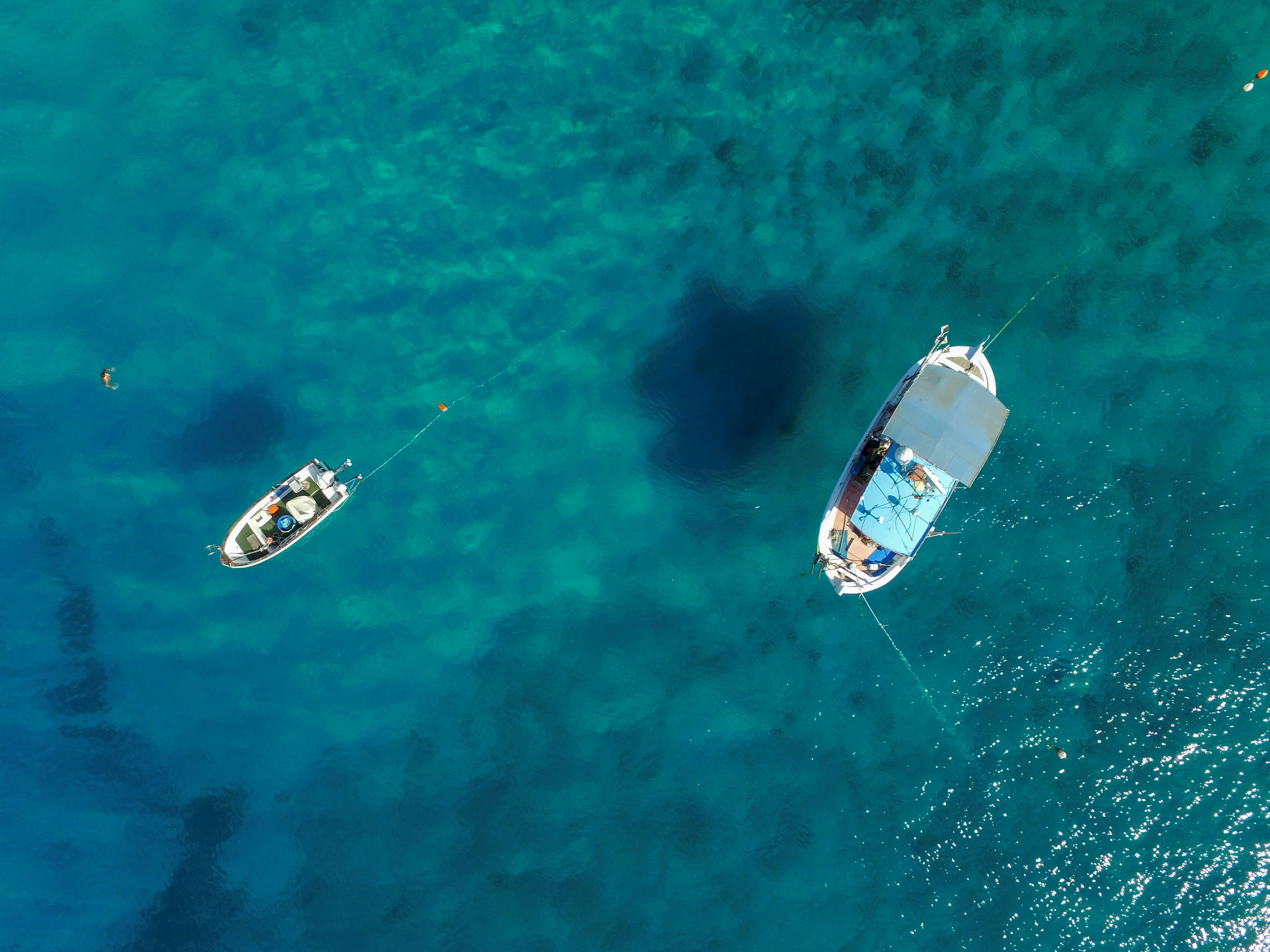 Slide 38 of 39: LEFKADA, GREECE - JUNE 08: Aerial view of boat at turquoise waters at the Porto Katsiki beach on June 08, 2016 in Lefkada,Greece. (Photo by Athanasios Gioumpasis/Getty Images)