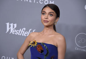 Sarah Hyland arrives at the 20th annual Costume Designers Guild Awards at The Beverly Hilton hotel on Tuesday, Feb. 20, 2018, in Beverly Hills, Calif. (Photo by Jordan Strauss/Invision/AP)