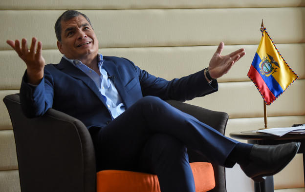 Former Ecuadorian president Rafael Correa offers an interview to AFP in Bogota on September 22, 2017.  Correa, momentarily retired from politics and living in Belgium, is willing to return to Ecuador to lead the push for a Constituent Assembly in the midst of the fierce power struggle between himself and his former ally, President Lenin Moreno, he told AFP during a visit to Bogota.  / AFP PHOTO / Raul ARBOLEDA        (Photo credit should read RAUL ARBOLEDA/AFP/Getty Images)