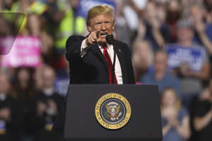 President Donald Trump addresses the audience at a rally at the Four Seasons Arena at Montana ExpoPark, Thursday, July 5, 2018, in Great Falls, Mont., in support of Rep. Greg Gianforte, R-Mont., and GOP Senate candidate Matt Rosendale. (AP Photo/Jim Urquhart)