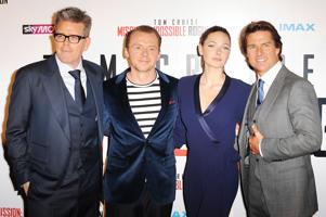 (R-L)Tom Cruise, Simon Pegg, Rebecca Ferguson and Christopher McQuarrie attend an exclusive screening of 'Mission: Impossible Rogue Nation' at BFI IMAX on July 25, 2015 in London, England.
