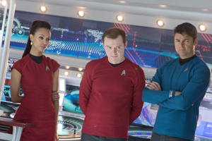 Zoe Saldana, Simon Pegg and Karl Urban in 2013 movie Star Trek Into Darkness.