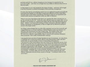 Boris Johnson's resignation letter - page two