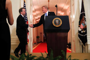 U.S. President Donald Trump introduces his Supreme Court nominee judge Brett Kavanaugh in the East Room of the White House in Washington, U.S., July 9, 2018. REUTERS/Leah Millis