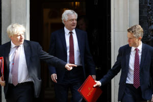 Britain's Foreign Secretary Boris Johnson (L), Britain's Secretary of State for Exiting the European Union (Brexit Minister) David Davis (C) and Britain's Defence Secretary Gavin Williamson leave 10 Downing Street in central London after attending the weekly cabinet meeting on July 3, 2018. (Photo by Tolga AKMEN / AFP)        (Photo credit should read TOLGA AKMEN/AFP/Getty Images)