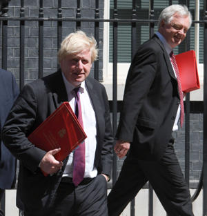 LONDON, ENGLAND - June 26: Boris Johnson, Secretary of State for Foreign Affairs arriving with David Davis Brexit Sec (R) at the weekly Cabinet meeting in Downing Street on June 26 London, United Kingdom. (Photo by Steve Back/Getty Images)