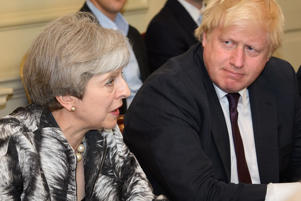 Prime Minister Theresa May with Boris Johnson.
