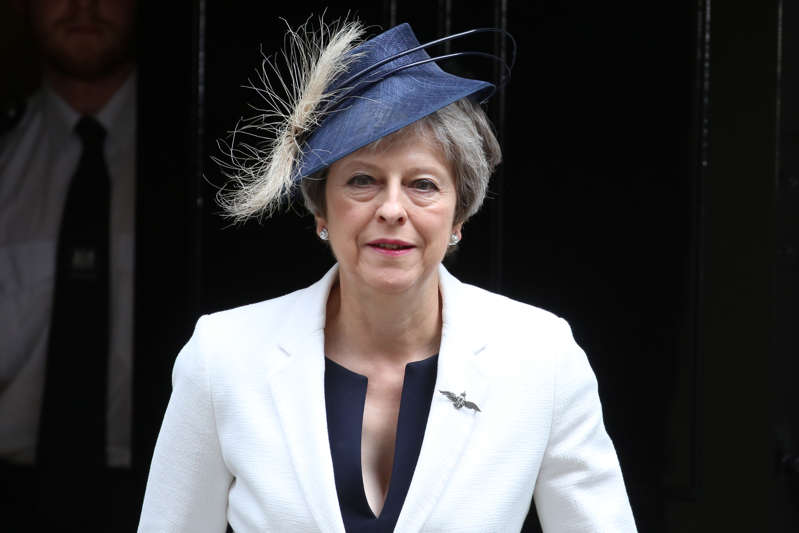 Britain's Prime Minister Theresa May leaves 10 Downing Street in central London after attending the weekly cabinet meeting on July 10, 2018. (Photo by Isabel INFANTES / AFP)        (Photo credit should read ISABEL INFANTES/AFP/Getty Images)