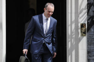 Britain's new Secretary of State for Exiting the European Union (Brexit Minister) Dominic Raab leaves 10 Downing Street in central London on July 9, 2018 following his appointment. - Raab was appointed as Britain's new Brexit minister after the resignation of David Davis. British Prime Minister Theresa May faced a crisis in her cabinet on July 9 after Brexit minister David Davis and one of his deputies resigned over a plan to retain strong economic ties to the EU even after leaving the bloc. (Photo by Tolga AKMEN / AFP)        (Photo credit should read TOLGA AKMEN/AFP/Getty Images)