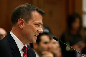 "FBI Deputy Assistant Director Peter Strzok testifies before the House Committees on Judiciary and Oversight and Government Reform joint hearing on ""Oversight of FBI and DOJ Actions Surrounding the 2016 Election"" in the Rayburn House Office Building in Washington, U.S., July 12, 2018."