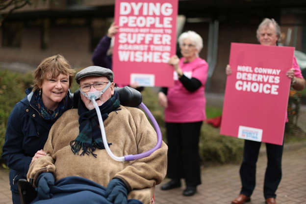 c068868cd26 Terminally-ill Noel Conway with his wife Carol outside Telford Justice  Centre in Shropshire