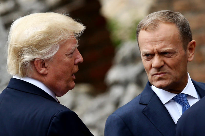 The president of the European Council, Donald Tusk, with President Donald Trump in Taormina, Italy, on May 26, 2017.