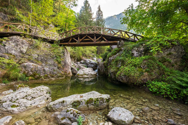 Διαφάνεια 1 από 35: Wooden bridge over a river in the mountains of Olympus. Prionia, Greece
