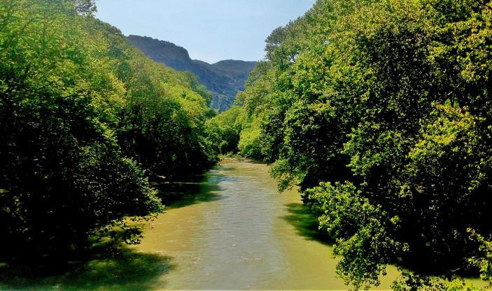 Διαφάνεια 9 από 35: river Pinios in Greece, flowing  on the foot of mountain Olympus