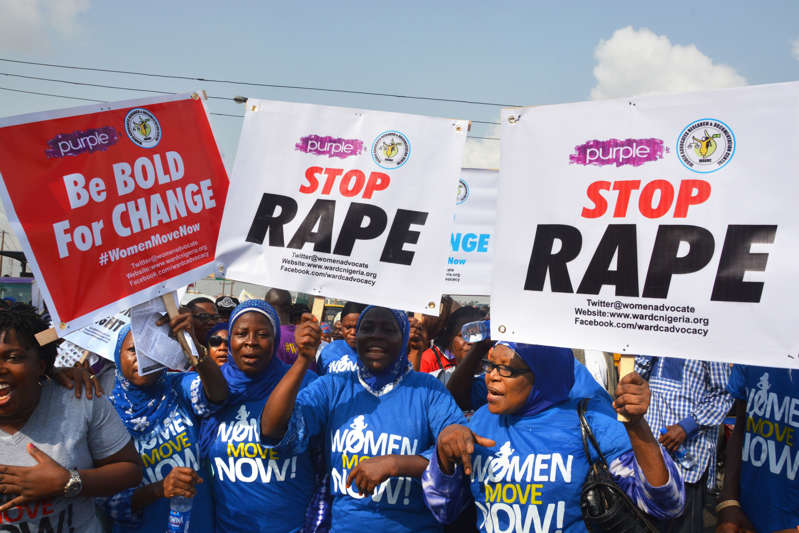 Nigerian women gather to protest violation and sexual abuse.