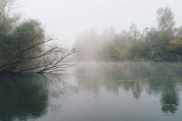 Διαφάνεια 3 από 35: Foggy morning on river Ardas in Greece.