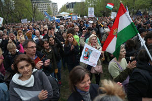 Demonstrators protest against Hungarian Prime Minister Viktor Orban's government in front of the former building of Hungarian Television on April 15, 2017 in downtown Budapest.