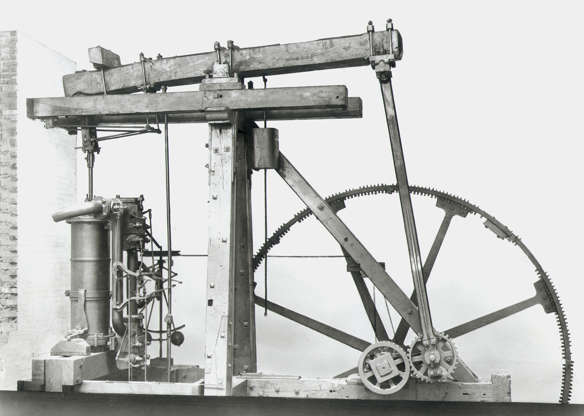 Slide 1 of 29: UNITED KINGDOM - NOVEMBER 08: The first products of the famous engineering partnership of Matthew Boulton (1728-1809) and James Watt (1769-1848) were, like earlier engines, purely pumping machines. It was only later, in about 1782, that Watt began to introduce the rotative engine that could be harnessed directly to rotating machinery, and so made possible a huge expansion of all types of industry that needed power. This engine, which drove part of Boulton's own works, is the oldest steam engine to have survived nearly complete and essentially unaltered. (Photo by SSPL/Getty Images)