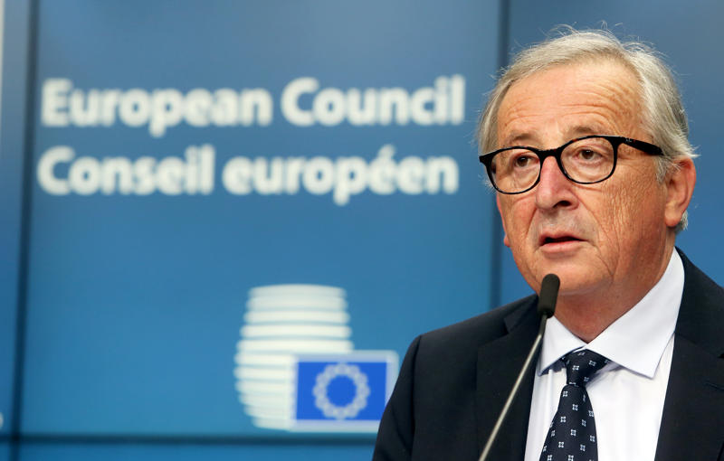 European Commission President Jean-Claude Juncker addresses a news conference during an European Union leaders summit in Brussels, Belgium, June 29, 2018. REUTERS/Francois Walschaerts