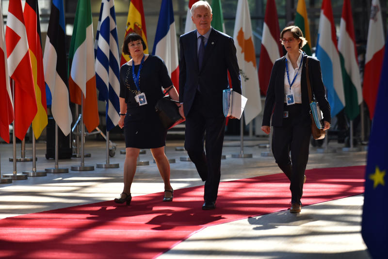 European Chief Negotiator Michael Barnier arrives at The European Council summit in Brussels on June 28, 2018. European Union leaders meet today for the two-day European Council. The agenda includes discussion on migration, security and defence, leaders are expected to discuss EU-NATO cooperation ahead of the NATO summit in July. The European Council (Art. 50), in an EU 27 format, will review the state of play of Brexit negotiations and adopt conclusions on progress made. (Photo by Alberto Pezzali/NurPhoto via Getty Images)