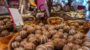 Pralines. Brugge is considered the capital of chocolate.
