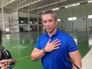 Juanito Victor Remulla holding a glass of water: At least five major local companies and one Chinese firm are interested in the provincial government of Cavite's initiative to expand the Sangley Airport to as an international gateway, Governor Jonvic Remulla told reporters on Tuesday, October 29, 2019. Ted Cordero