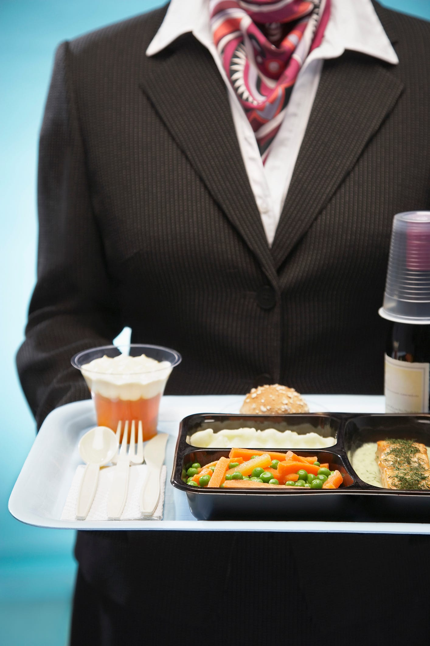 Slide 47 of 85: What does the crew eat on long flights?  Pilot meals vary from airline to airline. Usually on long flights, the crew meals are prepared in a similar way to passenger meals. The flight attendants bring the meals to the pilots once the the passengers have been served.The menu varies depending on the departure airport and the catering request.