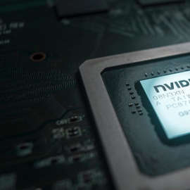 a close up of electronics: a Nvidia semiconductor chip