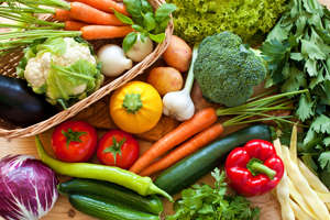 "a box filled with different types of vegetables: Research suggests that antioxidants found in fruits, vegetables, nuts, seeds, green tea, and other foods and beverages may help fight inflammation inside your body, which could help control allergies. Other research, including a study published in 2017 in The American Journal of Clinical Nutrition, suggests that a diet rich in probiotics can also help alleviate allergy symptoms. ""Probiotics protect against allergies, but they don't work immediately so they're most beneficial when taken long-term,"" says Purvi Parikh, MD, an allergist and immunologist at Allergy and Asthma Associates of Murray Hill, in New York City. These are the 20 bizarre things you didn't know you could be allergic to."