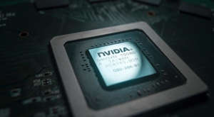 a close up of a phone: a Nvidia semiconductor chip