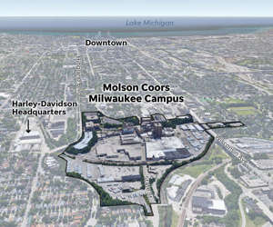 a close up of a map: Multiple people were killed during a shooting rampage Wednesday afternoon on the Milwaukee campus of Molson Coors. More than 600 people work in the brewery and corporate offices west of downtown Milwaukee.