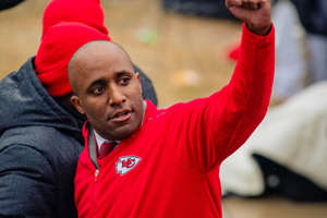 Caption: KANSAS CITY, MO - FEBRUARY 05: Kansas City Mayor Quinton Lucas greets fans during the Kansas City Chiefs Victory Parade on February 5, 2020 in Kansas City, Missouri. (Photo by Kyle Rivas/Getty Images)
