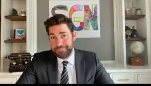 John Krasinski wearing a suit and tie: John Krasinski highlights some good news from around the world, including an interview with Steve Carrell to mark the 15thanniversary of THE OFFICE, as well as John's newest hero Coco. #somegoodnews
