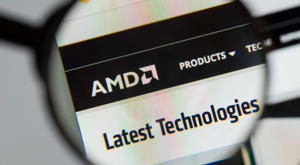 Advanced Micro Devices (AMD) website, with magnifying glass over the AMD logo.