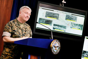 U.S. Marine Corps Gen. Kenneth McKenzie Jr., commander of U.S. Central Command (CENTCOM), briefs the media on the status of operations in the CENTCOM area of responsibility in the wake of the attacks; during a briefing at Pentagon in Arlington, Virginia, U.S., March 13, 2020.