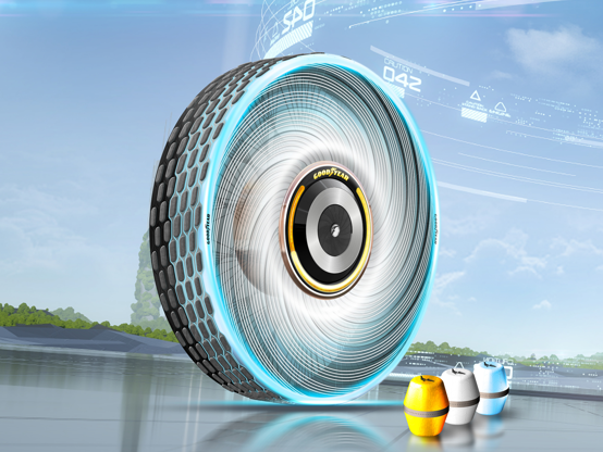 幻灯片 7 - 1:  Goodyear has unveiled its   reCharge Concept tires that are self-regenerating and  self-charging with artificial intelligence features.  The tires can change its treads according to the climate and terrain.  Goodyear claims its concept tires keep in line with the trending needs of electric and sustainable mobility.    Visit  Business Insider's homepage for more stories.   Goodyear has unveiled a self-regenerating concept tire with artificial intelligence features that allow the tire treads to change according to the environment and climate.  Goodyear claims to be one of the largest tire companies in the world, and its reCharge Concept tire was created to keep in line with the world's increasing shifts towards electric and sustainable mobility options.  The concept tires were designed with three concepts in mind: personalization, sustainability, and hassle-free use, according to its maker. It was also designed for increasing individuality demands: the tires can shift depending on the terrain, climate, and driver needs with the help of artificial intelligence.  Keep scrolling to learn about Goodyear's new concept reCharge tires: