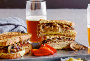 a sandwich sitting on top of a table: Turkey-Burger-Patty-Melts-recipe