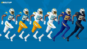 a group of people posing for the camera: Chargers-Uniforms-Chargers-FTR-042120