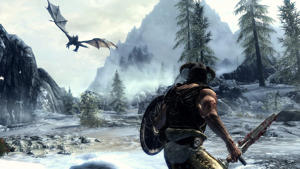 a couple of people that are standing in the snow: Skyrim