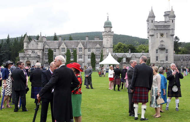 Slide 27 of 53: Most of the castle is out of bounds to the general public, particularly during the late summer when the Queen and her family are normally in residence. Fee-paying visitors can, however, view the grounds and the castle's ballroom at other times.