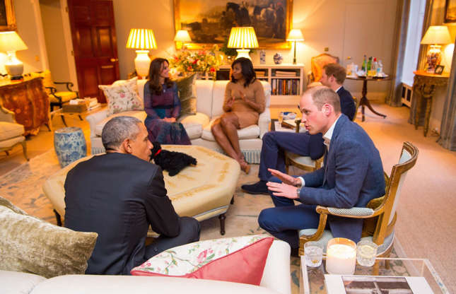 Slide 50 of 53: Here's the Drawing Room of Apartment 1A, where the Duke and Duchess of Cambridge and Prince Harry met with Barack and Michelle Obama prior to a private dinner party.
