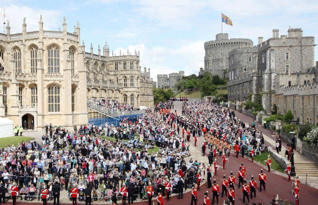 Slide 11 of 53: Windsor Castle is the Queen's official country residence and although some formal engagements are usually conducted at Windsor, it's essentially her place to unwind. Her Majesty normally spends most weekends at the castle and would stay there during Easter, as well as in June for Royal Ascot and the Order of the Garter service (pictured).