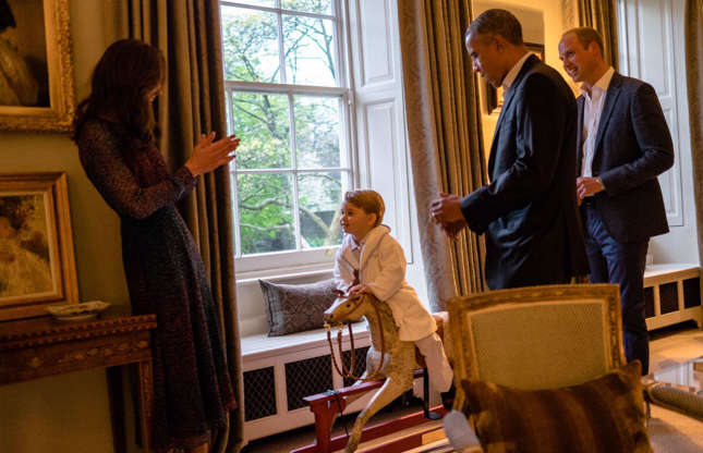 Slide 51 of 53: In April 2016, Prince George had the chance to thank Barack Obama for his gift of a rocking horse in the living room of apartment 1A.