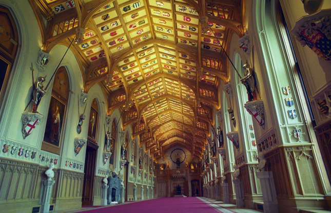 Slide 13 of 53: Other highlights include the medieval St George's Chapel and Hall (pictured), and a wealth of treasures, from the artworks that are displayed in the Drawings Gallery, to King Charles II's bed and Queen Mary's sumptuous doll's house.