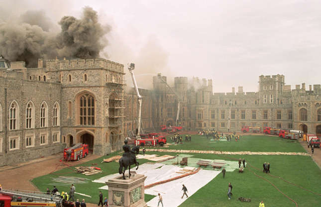 Slide 15 of 53: Like Buckingham Palace, maintaining Windsor Castle is a costly process. The infamous 1992 fire caused $44.5 million (£34.7m) worth of damage, and the UK government has signed off a $33 million (£26m) refurbishment project.