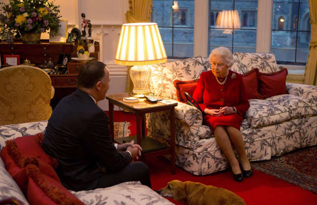 Slide 14 of 53: The private apartments at Windsor are hardly ever photographed. This rare glimpse inside the Queen's private sitting room, which shows Her Majesty meeting the former New Zealand Prime Minister John Key, was shared via the British Monarchy's official Twitter account last year.