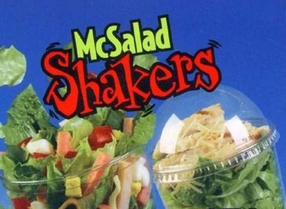 """Slide 14 of 21: Another healthy McDonald's option that's no longer? McSalad Shakers. The cups of salad that you shook up to distribute dressing evenly hit menus in 2000. It was McDonald's way of capitalizing on the trend of bringing your salad with you on the go. """"Who's shaking up everything you know about salads?"""" a McDonald's commercial asked.Unfortunately, the Slurpee-looking salad cups weren't particularly appealing to McDonald's customers. In 2003, the McSalad Shakers were switched out for McDonald's Premium Salads served in traditional bowls, which is far more appetizing."""